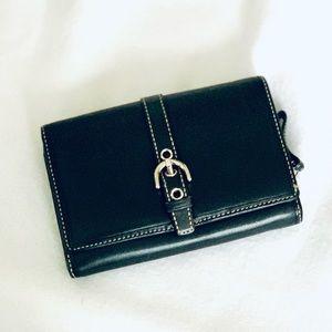 Coach Vintage Black Leather Wallet w/ Hobo buckle